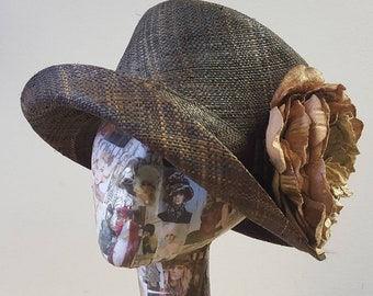 Brown Striped Raffia Cloche 20's Style Sun Hat with Cappuccino Velvet and Silk Peony