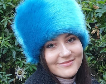 Stunning Peacock Blue Luxury Short Pile Faux Fur With Fleece Lining-Fur Hat-Fake Fur Hat-Winter Hat-Long Fur Hat-Cossack Hat-Blue Fur Hat