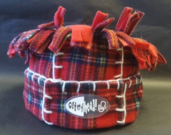 Tartan 'Tarantula' Fleece Hat with Blanket Stitch Detail