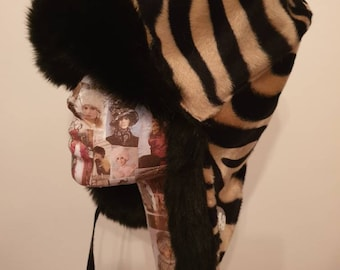 Gold Zebra Print Faux Trapper with  Faux Fur and Fleece Lining
