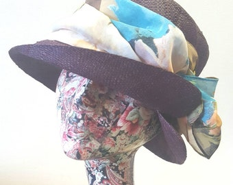 Chestnut Brown Raffia Cloche 20's Style Sun Hat with Butterfly Motif Band