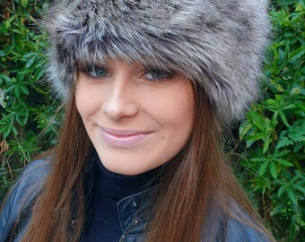Faux Fur Hat-Caramel and Brown Tones-Polar Fleece Lining-Women's Winter Hat-Fake Fur Hat