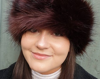 Beautiful Chocolate Brown Luxury Faux Fur Headband / Neckwarmer / Earwarmer Handmade in Lancashire England