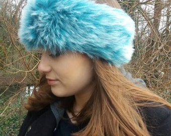 Turquoise and White Faux Fur Headband / Neckwarmer / Earwarmer Handmade in Lancashire England