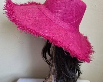 Shocking Pink Boho Large Brimmed Raffia Sun Hat-Pink Sun Hat-Raffia Hat-Straw Hat