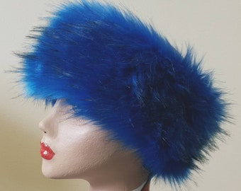 Cobalt Blue Luxury Faux Fur Headband / Neckwarmer / Earwarmer Handmade in Lancashire England