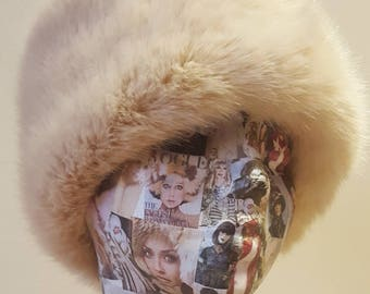 Pale Pink Faux Fur Hat with Polar Fleece Lining.