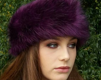 Purple Faux Fur Headband / Neckwarmer / Earwarmer Handmade in Lancashire England