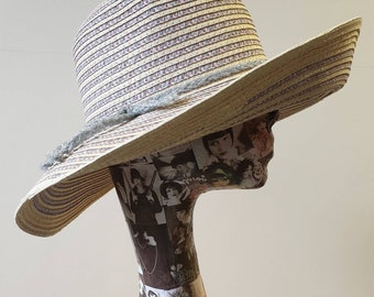 Lilac, Silver and Cream Wide Brimmed Floppy Sun Hat.