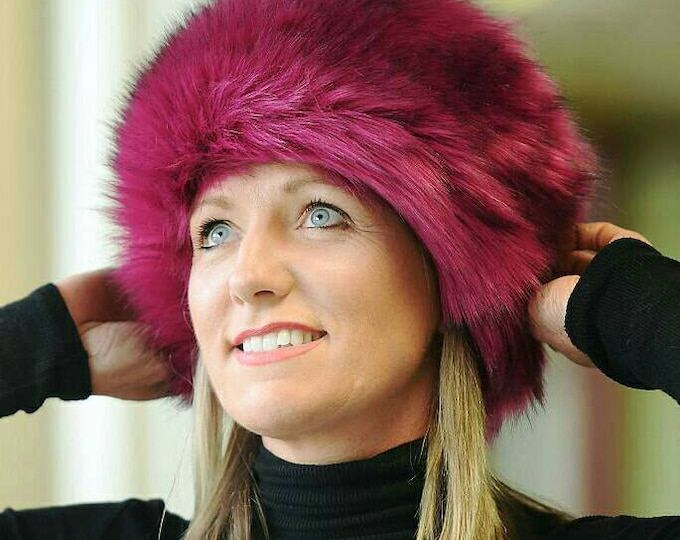 Featured listing image: Super Luxury Magenta Faux Fur Hat with Polar Fleece Lining