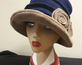 Stylish Navy and Camel 20's Style Cloche Fully Fleece Lined-Downton Abbey Hat-Womens Fleece Hat-Womens Fleece Winter Hat-Ladies Winter Hat