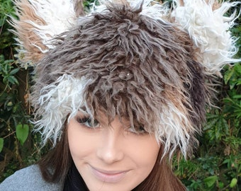 Fluffy Bear Hat in Twisty Brown. Fully Lined With Polar Fleece.