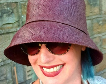 Chestnut Brown Raffia Cloche 20's Style Sun Hat