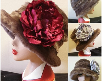 Lady Mary style 20's Cloche Hat-Raspberry or Lilac Peony-Faux Fur Brown Hat-Brown Fur Hat-Fur Winter Hat-Downton Abbey-Peaky Blinders Hat