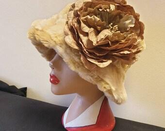 Beautiful Teddy Fur Cloche Hat- Cosy Polar Fleece Lining- Removable Flower Brooch-Downton Abbey Hat-Womens Winter Hat-Faux Fur Hat-Womens