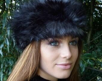 Black Wolf Faux Fur Headband / Neckwarmer / Earwarmer Handmade in Lancashire England