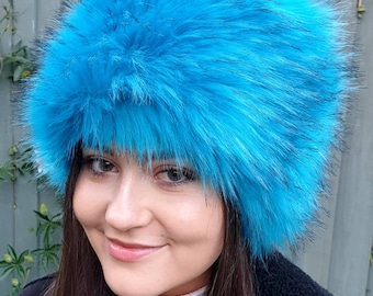 Kingfisher Blue Luxury Long Pile Faux Fur Hat- Polar Fleece Lining-Fur Hat-Fake Fur Hat-Winter Hat-Long Fur Hat-Cossack Hat-Blue Fur Hat