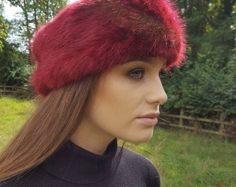 Super Luxury Deep Red Faux Fur Headband / Neckwarmer / Earwarmer Handmade in Lancashire England
