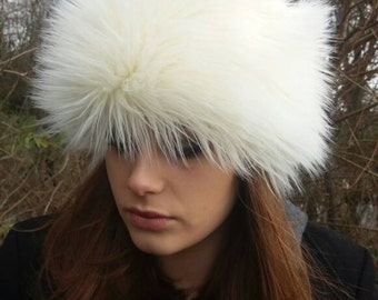Faux Mongolian Sheep Fur Hat-Short Cream Furry Crown-Polar Fleece Lining-Women's Winter Hat