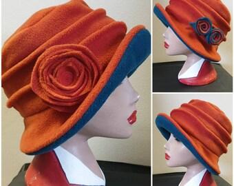 Burnt Orange/Teal Fleece Hat- Lined with Polar Fleece-Downton Abbey Hat-Womens Fleece Hat-Rust Fleece-Burnt Orange Fleece Hat-Orange Hat