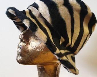 Antelope Print Short Faux Fur Bucket Hat-Fleece Lining-Furry Bucket Hat-Animal Print Bucket Hat-Festival Hat