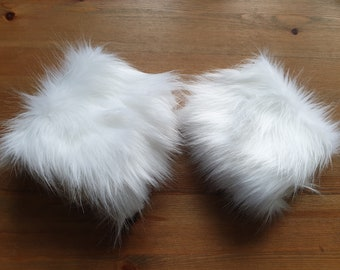 Ice White Luxury Faux Fur Cuffs- Faux Suede Lining- Elasticated at One End-Fur Cuffs-Wrist Cuffs-Faux Fur Cuffs-Fluffy Cuffs-White Cuffs