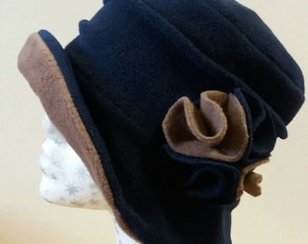 Navy and Fudge Fleece Cloche Hat-Downton Abbey Hat-Womens Fleece Hat-Womens Fleece Winter Hat-1930's-Vintage Style Hat-Ladies Winter Hat