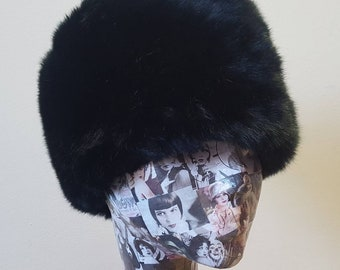 Soft Black Short Pile Faux Fur Russian Style Hat