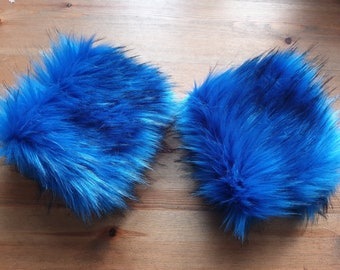 Cobalt Blue Luxury Faux Fur Cuffs- Faux Suede Lining- Elasticated at One End-Wrist Cuffs-Faux Fur Cuffs-Fluffy Cuffs-Fur Cuffs-Jacket Cuffs