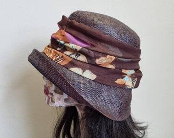 Dark Brown Raffia Cloche 20's Style Sun Hat with Butterfly Print Band Trim- Straw Sun Hat- Raffia Sun Hat-Sun Hat