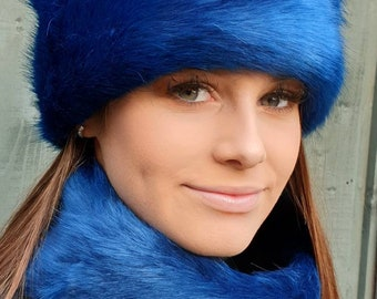 Sapphire Blue Luxury Short Faux Fur Hat with Polar Fleece Lining-Fur Hat-Fake Fur Hat-Winter Hat-Long Fur Hat-Cossack Hat-Blue Fur Hat