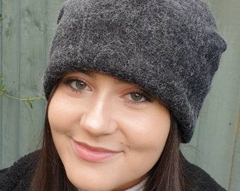 Grey Wool Blend Slouchy Hat with Large Mustard Pom Pom. Fully lined with Polar Fleece