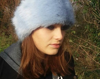 Super Luxury Baby Blue Faux Fur Headband / Neckwarmer / Earwarmer Handmade in Lancashire England