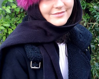 Frieda Scarf Hat in Magenta. Faux Fur Hat with Fleece Top and Long Fleece Sides. Full Polar Fleece Lining