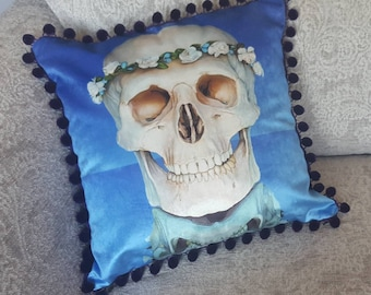 Flower Skull Print Cushion/Cushion Cover on 100% Cotton Shimmer Velvet. 45cm x 45cm. Printed from original artwork.