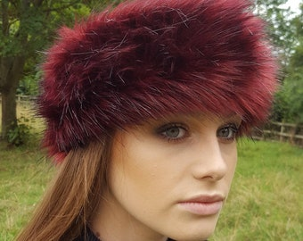 Red Fire Faux Fur Headband / Neckwarmer / Earwarmer Handmade in Lancashire England
