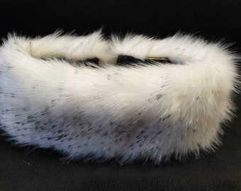 White Luxury Faux Fur Headband with Black Tips-Neckwarmer-Earwarmer-Handmade in Lancashire England