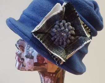 Handmade Blue Fleece Hat with Tweed Detail and Fleece Lining
