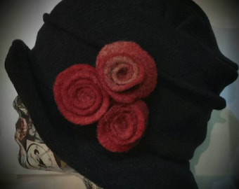 Handmade Black Cloche Hat With Cosy Fleece Lining and Red Rose  Detail