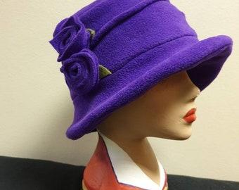 Fleece Lined Purple Fleece Hat- Pleated Top-Downton Abbey Hat-Womens Fleece Hat-Womens Fleece Winter Hat-1930-Ladies Winter Hat-Cloche Hat
