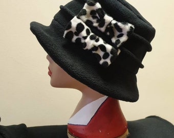 Black Cloche Hat In Cosy Polar Fleece-Dalmation Bows-Downton Abbey Hat-Womens Fleece Hat-Womens Fleece Winter Hat-1930's-Ladies Winter Hat