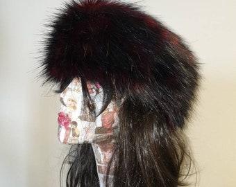 Long Black/Red Faux Fur Headband / Neckwarmer / Earwarmer-Head Wrap-Fur Head Wrap- Handmade in Lancashire England