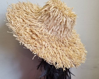 Wide Brimmed Staw Sun Hat- Sun Hat-Raffia Hat-Straw Hat-Floppy Sun Hat- Boho Sun Hat- 60's Sun Hat