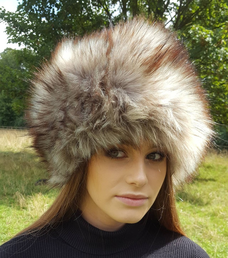 9ca17d15e Super Wolf Faux Fur Hat with Cosy Polar Fleece Lining Grey with brownish  tips