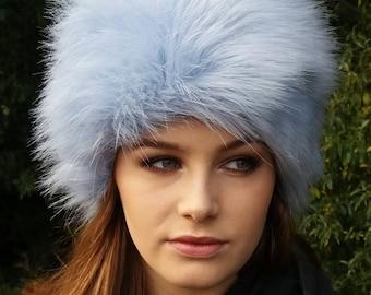 Ice Blue Faux Fur Hat with Cosy Polar Fleece Lining-Blue Fur Hat-Blue Fur- Blue Winter Hat-Baby Blue Fur