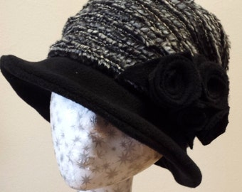 Black Fleece and Grey Brocade 30,s Inspired Hat with Cosy Fleece Lining