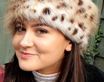 Lovely Cheetah Luxury Faux Fur Headband / Neckwarmer / EarwarmerHead Wrap-Fur Head Wrap- Handmade in Lancashire England