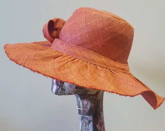 Lovely Wide Brimmed Raffia Hat in Salmon Pink with Flower Detail