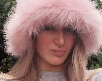 Baby Pink Fuzzy Bucket Hat-Festival Hat-Floppy Hat-Fur Hat-Fake Fur Hat-Rave Hat-Pink Bucket Hat-Blue Fur Hat-vegan friendly hat-Pink Fur Ha