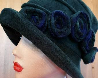 Racing Green Polar Fleece Hat-Polar Fleece Lining-Downton Abbey Hat-Womens Fleece Hat-Womens Fleece Winter Hat-1930's-Ladies Winter Hat
